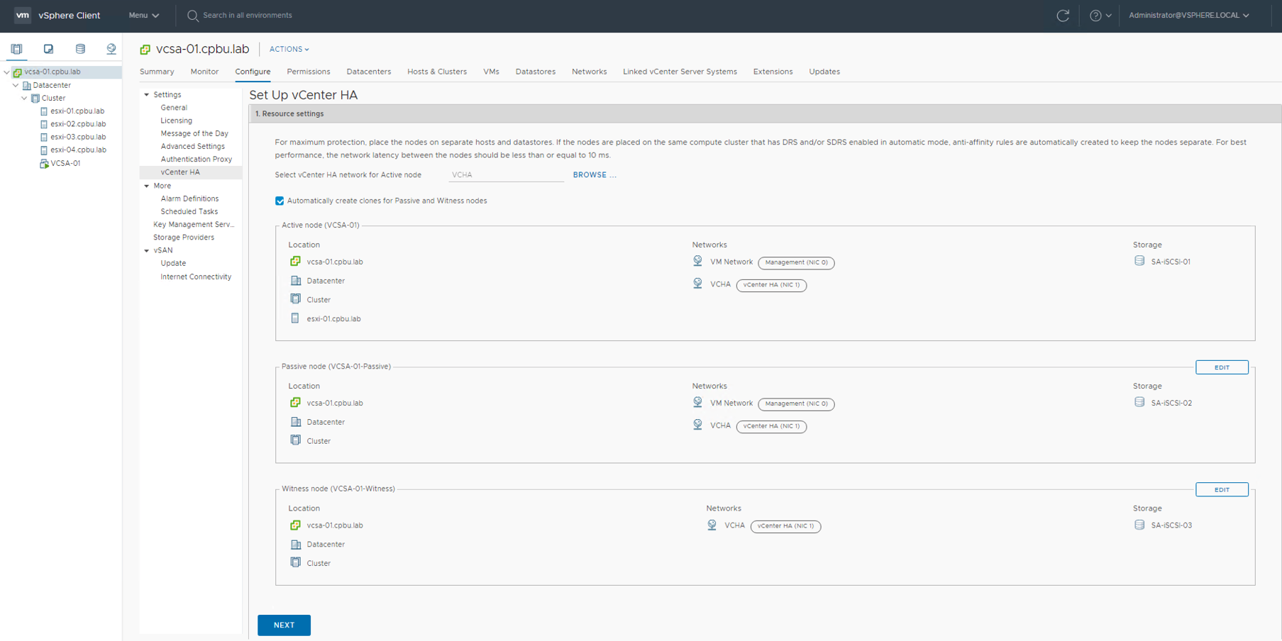 vCenter HA using the vSphere Client – have you tried